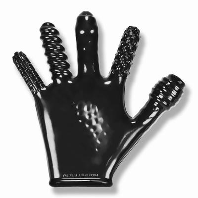 Finger Fuck handschoen met diverse ribbels, zwart