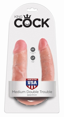 Dubbele Dildo by King Cock, medium, flesh