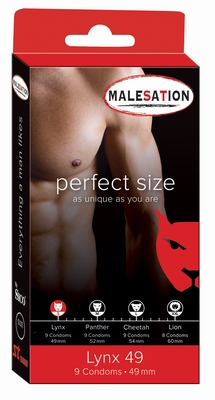 Condooms Malesation Perfect size Lynx, 9 stuks, 49 mm.