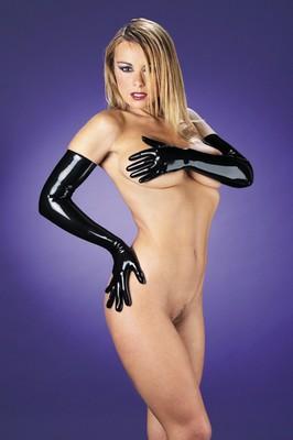 Latex handschoenen, lang model 58 cm