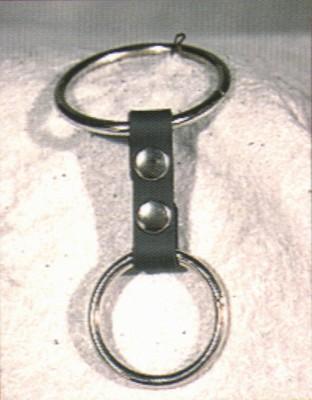 Dubbele Cockring van Leder met 2 ringen