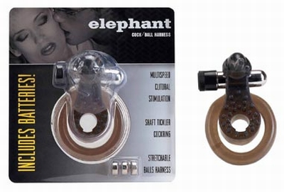 Cockring met clitoris stimulator, Elephant Zwart