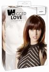 Pruik model Lucy, zwart met rode en blonde highlights, 40 cm