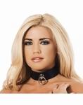 Lederen halsband met grote ring, 4 cm. breed, zwart
