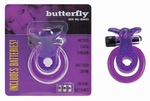 Cockring met clitoris stimulator, Butterfly Paars